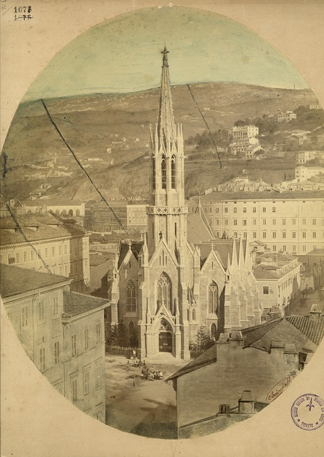 Cornelius Grünewald, Chiesa evangelica, albumina colorata a mano, [1880?] F1076