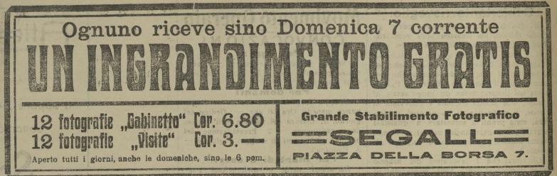 Il Lavoratore 6 agosto 1910 - Grande stabilimento fotografico Segall Trieste